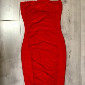 PrettyLittleThing red strapless shape dress